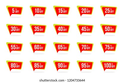 Modern Sale and Discount Price Tag Set 5, 10, 15, 20, 25, 30, 35, 40, 45, 50, 55, 60, 65, 70, 75, 80, 85, 90, 95, 100 Percent Off Sale Vector Illustration.