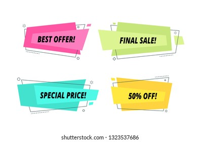 Modern sale tags set. Price label text shape bubble wholesale purchase banner promotional ribbon colorful shopping vector sticker