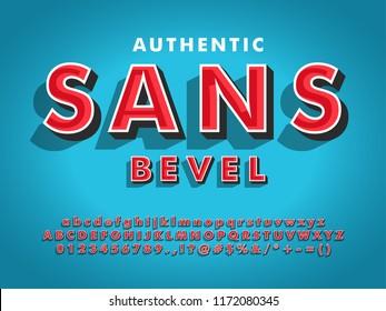 modern sans serif font with 3d beveled