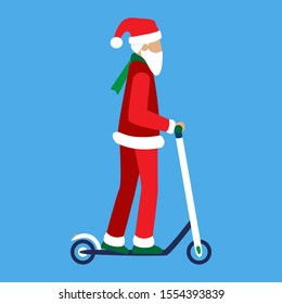 Modern Santa Claus rides an electric kick scooter isolated. An old senior man with a white beard and hair uses eco-friendly urban transport. For New Year and Christmas promotions rental or sharing.