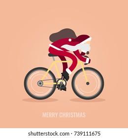 Modern Santa Claus riding his hipster bicycle.