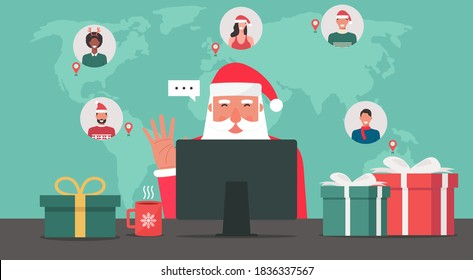 Modern Santa Claus sitting and using computer, connecting to people around the world with gifts on the table, flat vector illustration