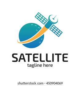 Modern satellite communication information logo template