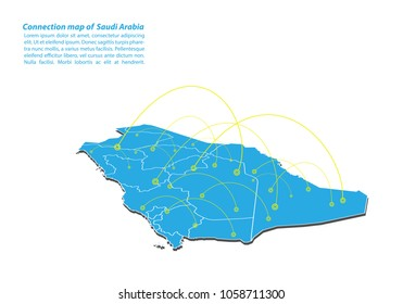 Modern of Saudi Arabia Map connections network design, Best Internet Concept of Saudi Arabia map business from concepts series, map point and line composition. Infographic map. Vector Illustration.