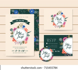 Modern Save The Date Floral Wedding Invitation Card Template Illustration Set. RSVP, Pin and Thank You Card Included.