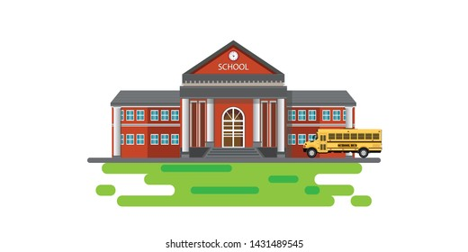 Modern school building with school bus. Vector illustration.
