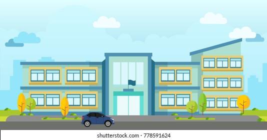 Modern School Building Vector Landscape