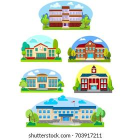 modern school buildings exterior, student city concept, elementary facade urban street background, icons set vector illustration