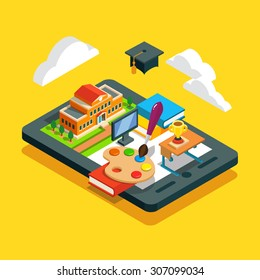 Modern school classroom education concept. Cloud remote learning. University or collage building, desk, books, computer screen and academic cap on a tablet. Flat style isometric vector illustration.