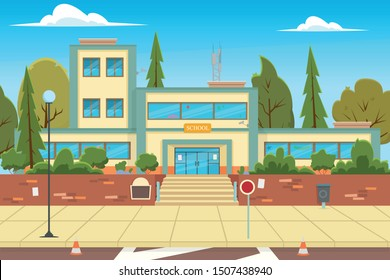 Modern school, college building on city street background. School Building And Empty Front Yard With Green Grass And Trees Landscape. Flat Vector Illustration