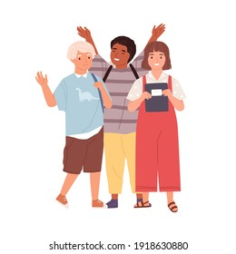 Modern schoolchildren waving hands and saying bye. Diverse joyful kids standing together. Boys and girl happy about elementary school graduation. Flat vector illustration isolated on white background