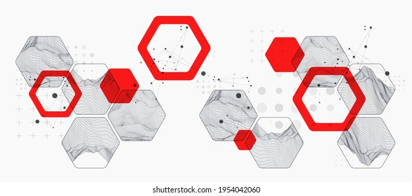 Moderne Wissenschaft oder Technologie, abstrakter Hintergrund mit sechseckigen Formen. Wireframe Spot Oberflächengrafik. Vektorgrafik.