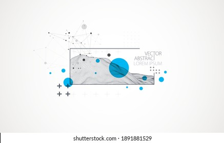 Modern science or technology elements in square. Trendy abstract background. Surface illustration. Vector.
