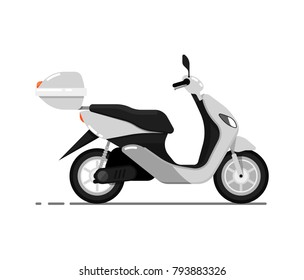 Modern scooter isolated on white icon. Classic motorbike, city motorcycle, delivery moped. Personal transport vehicle vector illustration.