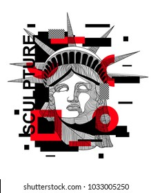 Modern sculpture / Glitch / Geometry. T-Shirt Design & Printing, clothes, beachwear. Vector illustration hand drawn. The Statue of Liberty