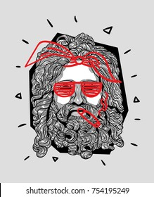 Modern Sculpture. T-Shirt Design & Printing, clothes, bags, posters, invitations, cards, leaflets etc. Vector illustration hand drawn. Zeus smoke