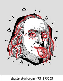 Modern Sculpture. T-Shirt Design & Printing, clothes, bags, posters, invitations, cards, leaflets etc. Vector illustration hand drawn. Benjamin Franklin show tongue