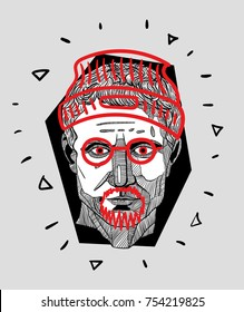 Modern Sculpture. T-Shirt Design & Printing, clothes, bags, posters, invitations, cards, leaflets etc. Vector illustration hand drawn. Guy Julius Caesar - hipster