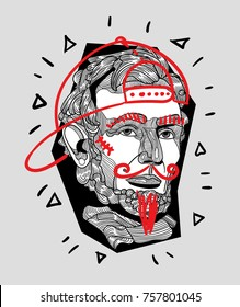 Modern Sculpture. T-Shirt Design & Printing, clothes, bags, posters, invitations, cards, leaflets etc. Vector illustration hand drawn. Abraham Lincoln