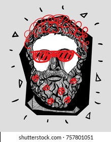Modern Sculpture. T-Shirt Design & Printing, clothes, bags, posters, invitations, cards, leaflets etc. Vector illustration hand drawn. Philosopher  with cap and beard with flowers. Hipster