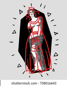 Modern Sculpture. T-Shirt Design & Printing, clothes, bags, posters, invitations, cards, leaflets etc. Vector illustration hand drawn. Venus (APHRODITE) dressed