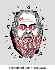 Modern Sculpture. T-Shirt Design & Printing, clothes, bags, posters, invitations, cards, leaflets etc. Vector illustration hand drawn. Socrates