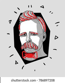 Modern Sculpture. T-Shirt Design & Printing, clothes, bags, posters, invitations, cards, leaflets etc. Vector illustration hand drawn. Friedrich Wilhelm Nietzsche