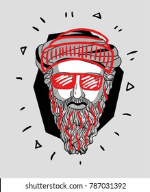 Modern Sculpture. T-Shirt Design & Printing, clothes, bags, posters, invitations, cards, leaflets etc. Vector illustration hand drawn. Pythagoras