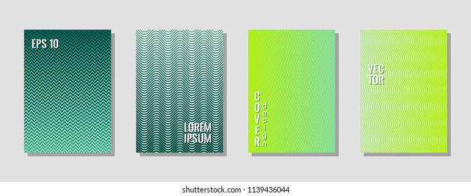 Modern sea green zig zag banner templates, wavy lines gradient stripes backgrounds for business cover. Curve shapes stripes, zig zag edge lines halftone texture gradient catalog covers set.