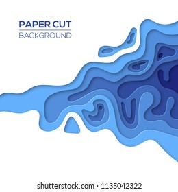 Modern sea, ocean paper cut art design template with cartoon abstract blue waves splash, isolated on white. Background for flyers, banners, presentations and posters. Vector illustration