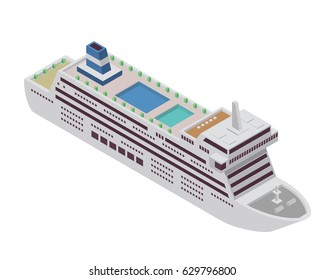 Modern Sea Transportation Illustration Asset - Large Luxury Cruise Ship