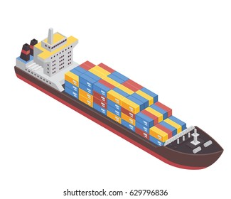 Modern Sea Transportation Illustration Asset - Commercial Cargo Ship