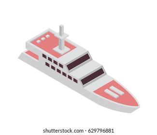 Modern Sea Transportation Illustration Asset - Private Pink Luxury Boat