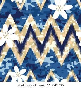 Modern seamless Hawaiian camouflage shirt background pattern