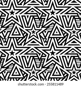 Modern Seamless Mix Stars Background. Black and White Striped Vector Pattern
