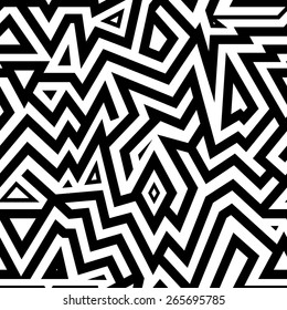 Modern Seamless Mixed Lines Background for Textile Design. Black and White Striped Vector Pattern