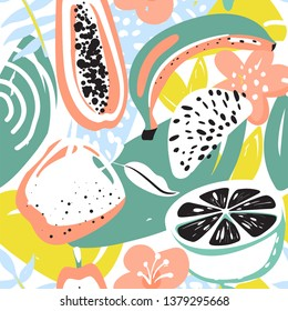 Modern seamless pattern with apple, papaya, lemon, flower and banana. Creative contemporary naive floral collage. Texture for textile, postcard, wrapping paper, packaging etc. Vector illustration.