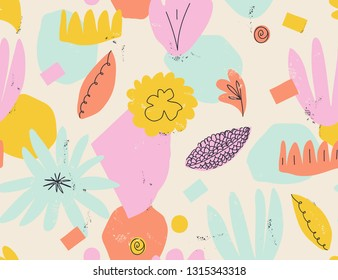 Modern seamless pattern. Creative collage contemporary floral seamless pattern. Fashionable template for design.
