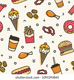 Modern seamless pattern with fast food. Colorful backdrop with various meals - ice cream, burger, donut, french fries, hot dog, fried chicken. Vector illustration for wrapping paper, textile print