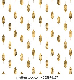 Modern seamless pattern with gold feathers. Tribal feathers on white background. Feathers Aztec seamless pattern. Ethnic ornament. Vector illustration