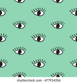 Modern seamless pattern with hand drawn eyes on green background.