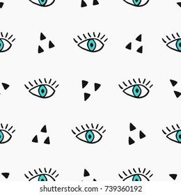 Modern seamless pattern with hand drawn eyes.