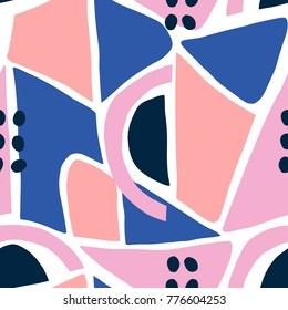 Modern seamless pattern in pink, peach and blue on white background.