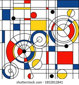 Modern seamless pattern in the style of Neoplasticism, Bauhaus, Mondrian. Perfect for interior design, printing, web design
