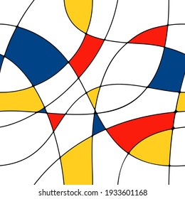Modern seamless pattern in the style of Neoplasticism, Bauhaus, Mondrian. Perfect for interior design, printing, web design.