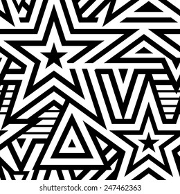 Modern Seamless Stars Background. Black and White Striped Vector Pattern. Mosaic of Linears