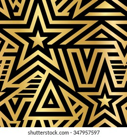 Modern Seamless Stars Background. Gold and White Striped Vector Pattern. Linear Mosaic . Metallic Flash Tattoo Item