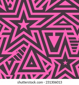 Modern seamless stars background. Pink on black vector pattern