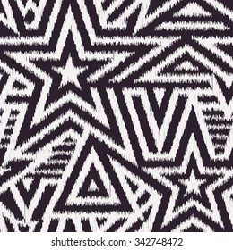 Modern Seamless Stars Background in Scribble Style. Handicraft Black and White Striped Vector Pattern. Rough Edges Mosaic Shapes