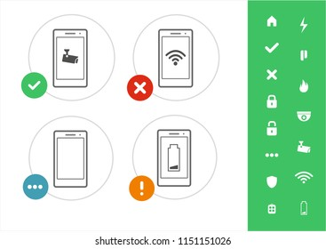 Modern security illustration - Remote control security from mobile phone - flat style icons for security devices